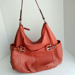 Tignanello leather shoulder bag coral